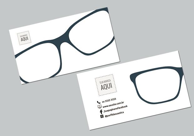 cartão de visita para promover a marca da sua ótica