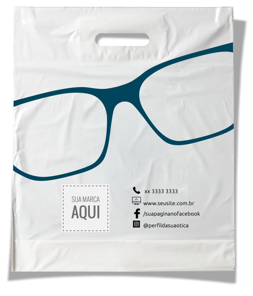 sacola plástica para promover a marca da sua ótica