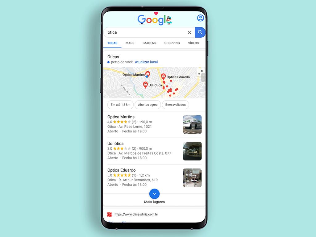 Óticas encontradas pelo Google Meu Negócio