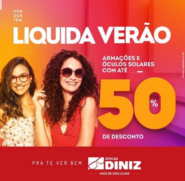 Exemplo de promoção de verão óticas Diniz: toda a coleção com até 50% de desconto
